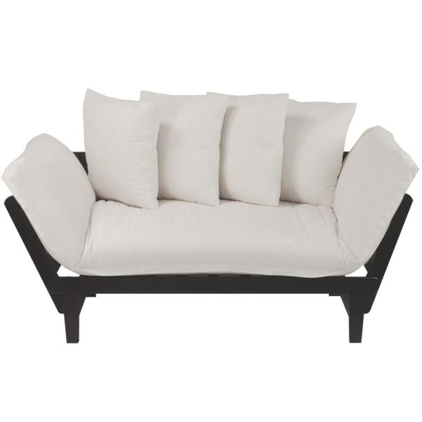 Casual Home Casual Espresso Frame/Ivory Fabric Cover Lounger Sofa Bed 411-52