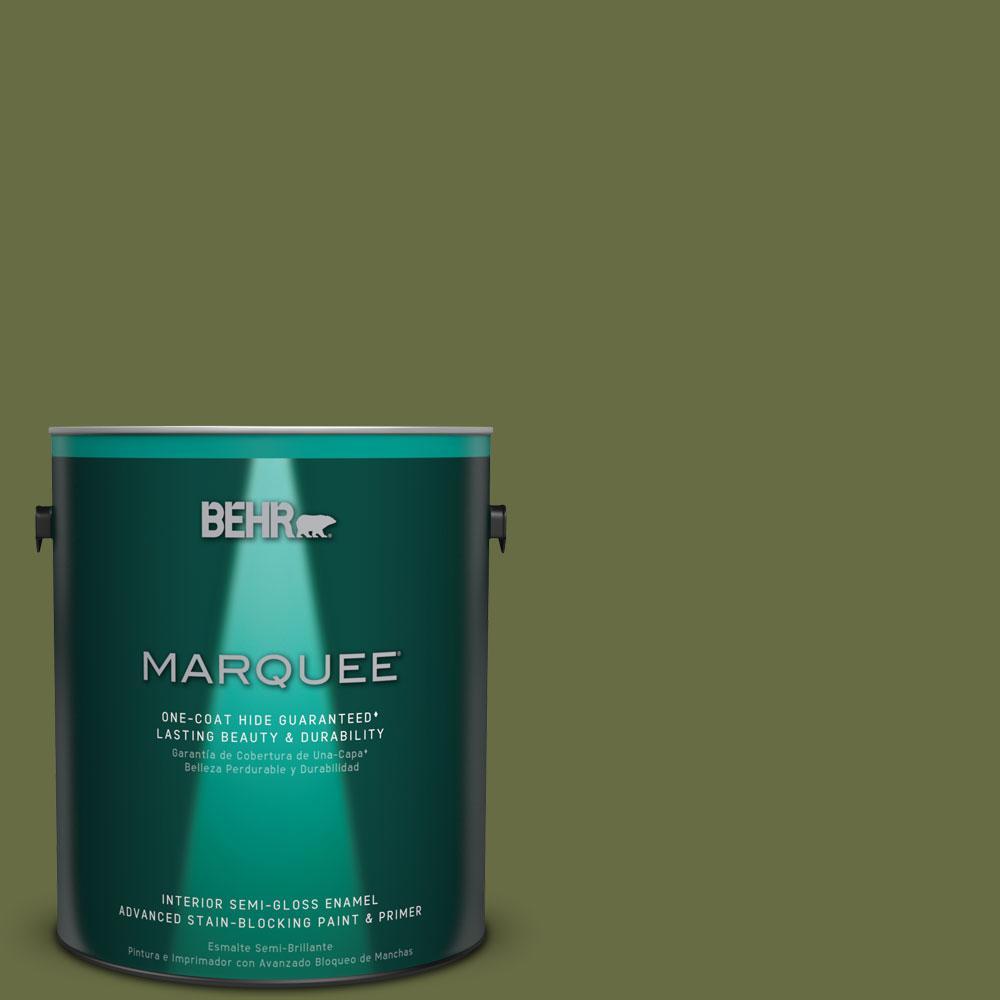 1 gal. #MQ6-62 Coconut Grove One-Coat Hide Semi-Gloss Enamel Interior Paint