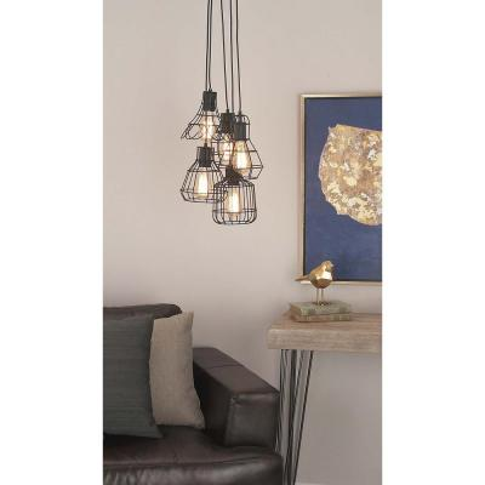 Litton Lane 5-Light Metallic Black Iron Bell Shaped Pendant