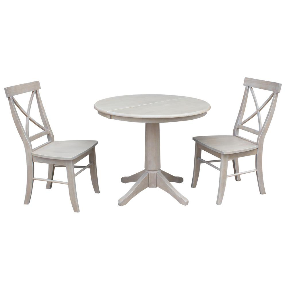 International Concepts Olivia 3-Piece Oval Weathered Gray...