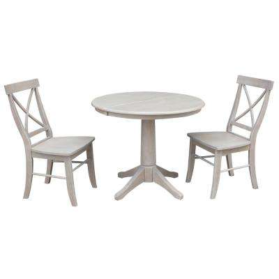 Olivia 3-Piece Oval Weathered Gray Dining Set with Alexa Chairs