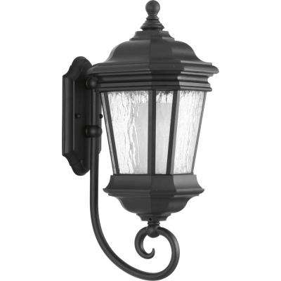 Crawford Collection 1-Light 20.5 in. Outdoor Black Wall Lantern Sconce