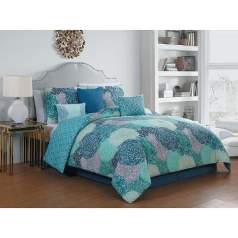 Giselle 7-Piece Teal Queen Comforter Set