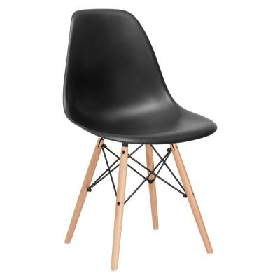 Vortex Black Side Chair with Natural Legs