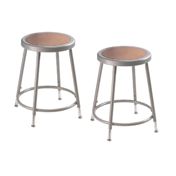 National Public Seating 19 in. to 27 in. Height Grey Adjustable Heavy-Duty Steel Stool (2-Pack)