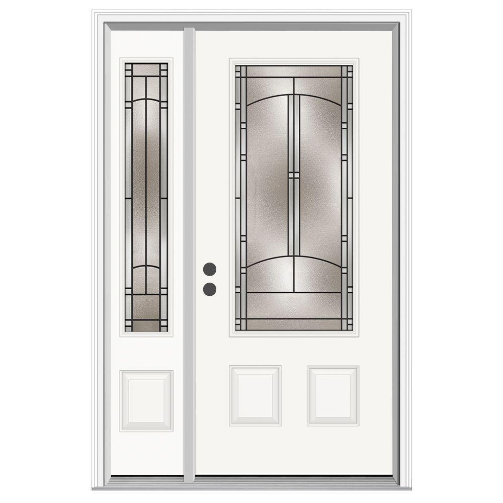 52 in. x 80 in. 3/4 Lite Idlewild Primed Steel Prehung Right-Hand Inswing Front Door with Left-Hand Sidelite