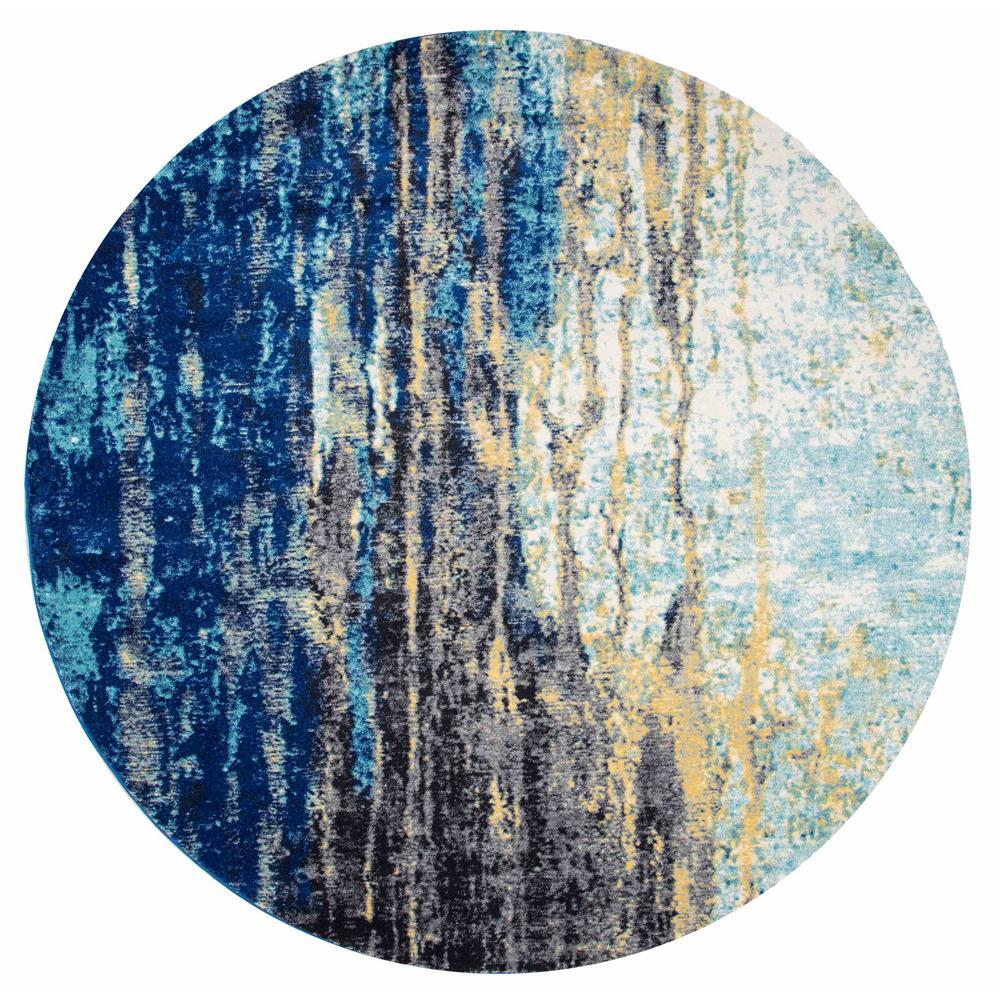 Katharina Blue 8 Ft. X 8 Ft. Round Area Rug