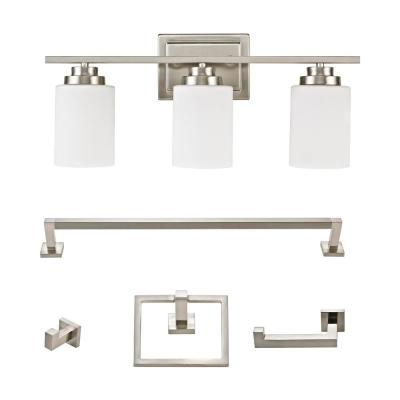 Robson Brushed Nickel Vanity Light All-In-One Bath Set (5-Piece)