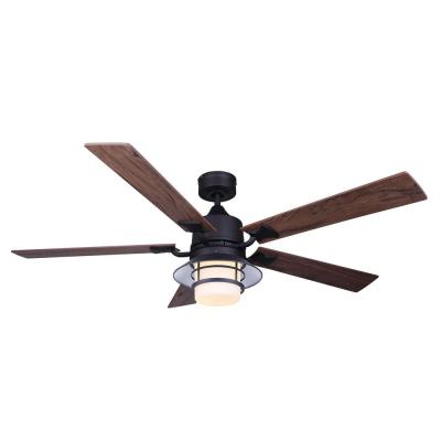 Dallas 52 in. Integrated LED Indoor Matte Black Dual Mount Ceiling Fan with Light Kit and Remote Control