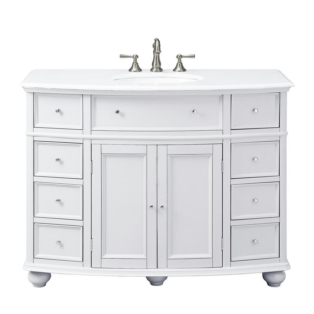 Hampton Harbor 45 in. W x 22 in. D Bath Vanity in Dove Grey with Natural Marble Vanity Top in White