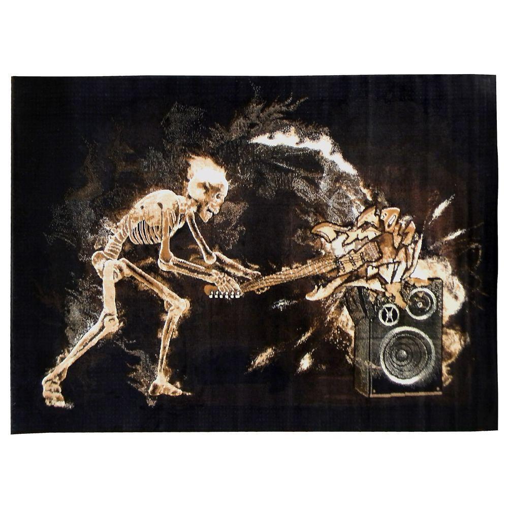 Skinz Skeleton Rock N Roll Design Black 5 ft. x 7