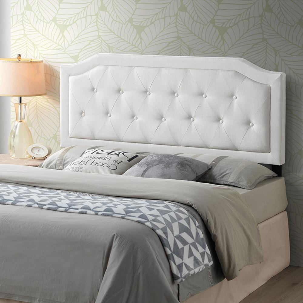 Poly and Bark Kensington Tufted Ivory Queen Size Headboard ...