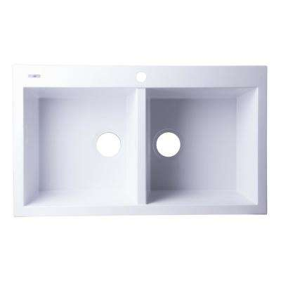 Drop-In Granite Composite 33.88 in. 1-Hole 50/50 Double Bowl Kitchen Sink in White