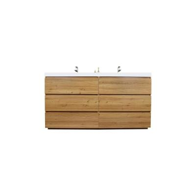 Angeles 71 in. W Bath Vanity in Natural Oak with Reinforced Acrylic Vanity Top in White with White Basin