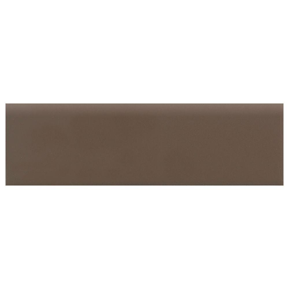 Daltile Modern Dimensions Matte Artisan Brown 2-1/8 in. x 8-1/2 in. Ceramic Bullnose Wall Tile-DISCONTINUED