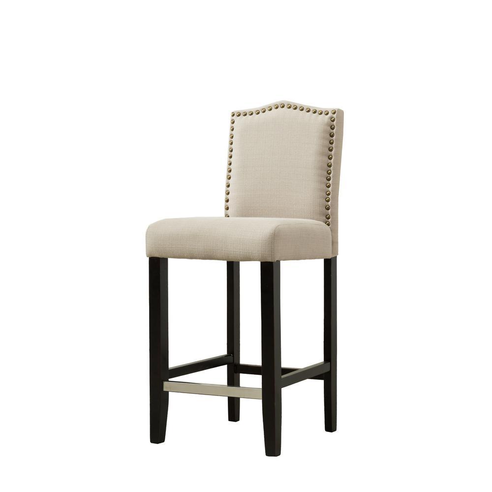 29 in. Zachory Beige Linen Upholstered Bar Stools (Set of 2)