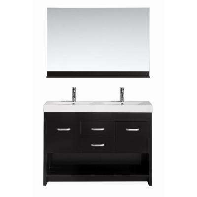 Citrus 48 in. W x 18 in. D Double Vanity in Espresso with Acrylic Vanity Top and Mirror in White