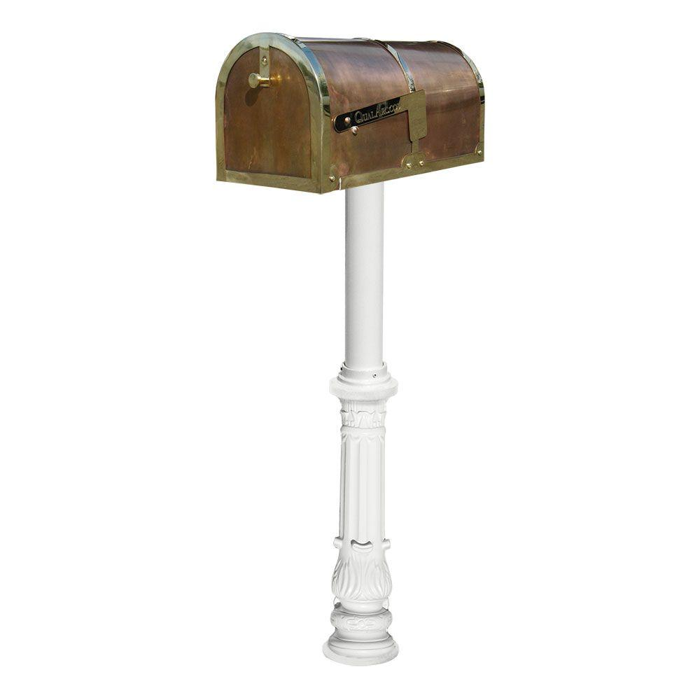 MB-3000 Polished Brass Non-Locking Mailbox with White Hanford Post System