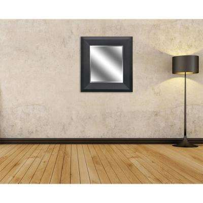 27 in. x 23 in. Bevel Style Framed Mirror in Black Woodgrain Finish