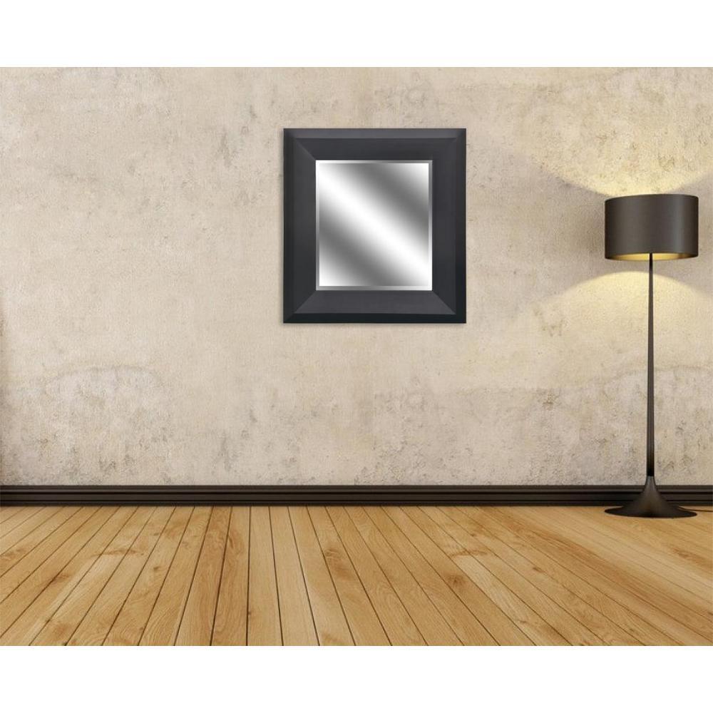 27 in. x 23 in. Bevel Style Framed Mirror in Black Woodgrain Finish