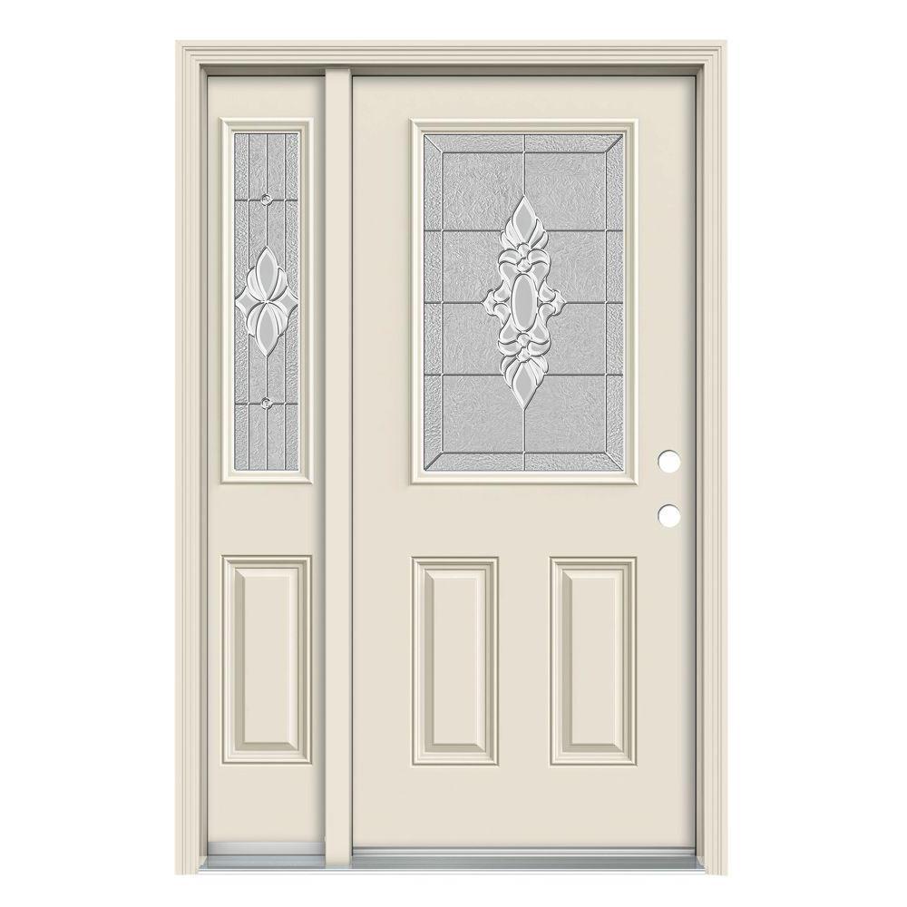 52 in. x 80 in. 1/2 Lite Langford Primed Steel Prehung Left-Hand Inswing Front Door with Right-Hand Sidelite