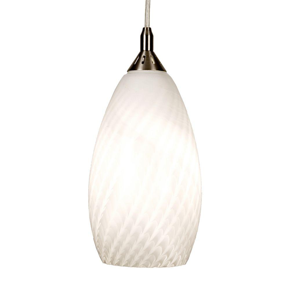 Home Decorators Collection 1-Light White Ceiling Pendant with Art Glass Shade