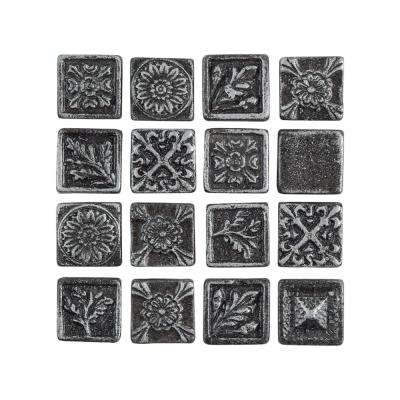 Baroque Square Pewter 1 in. x 1 in. Metallic Resin Wall Medallion Tile (16-Pack)