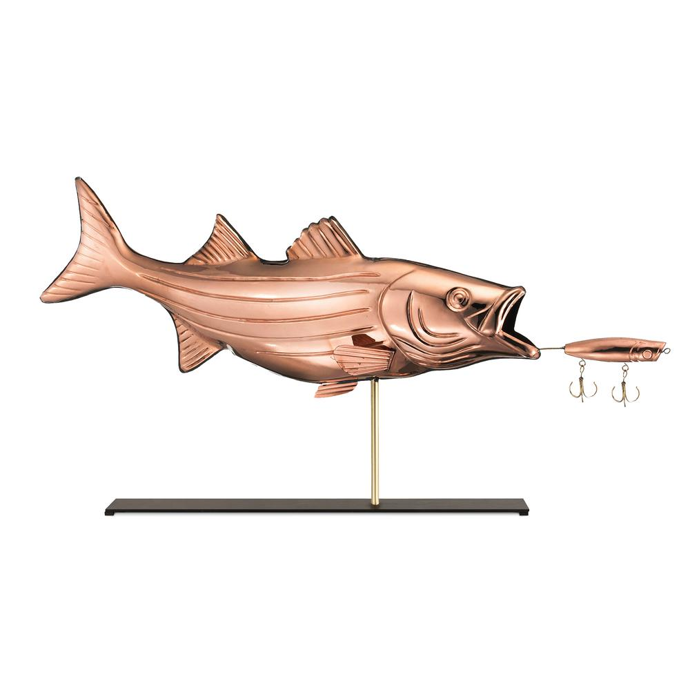 Bass with Lure Pure Copper Weathervane Sculpture on Iron Mantel Stand