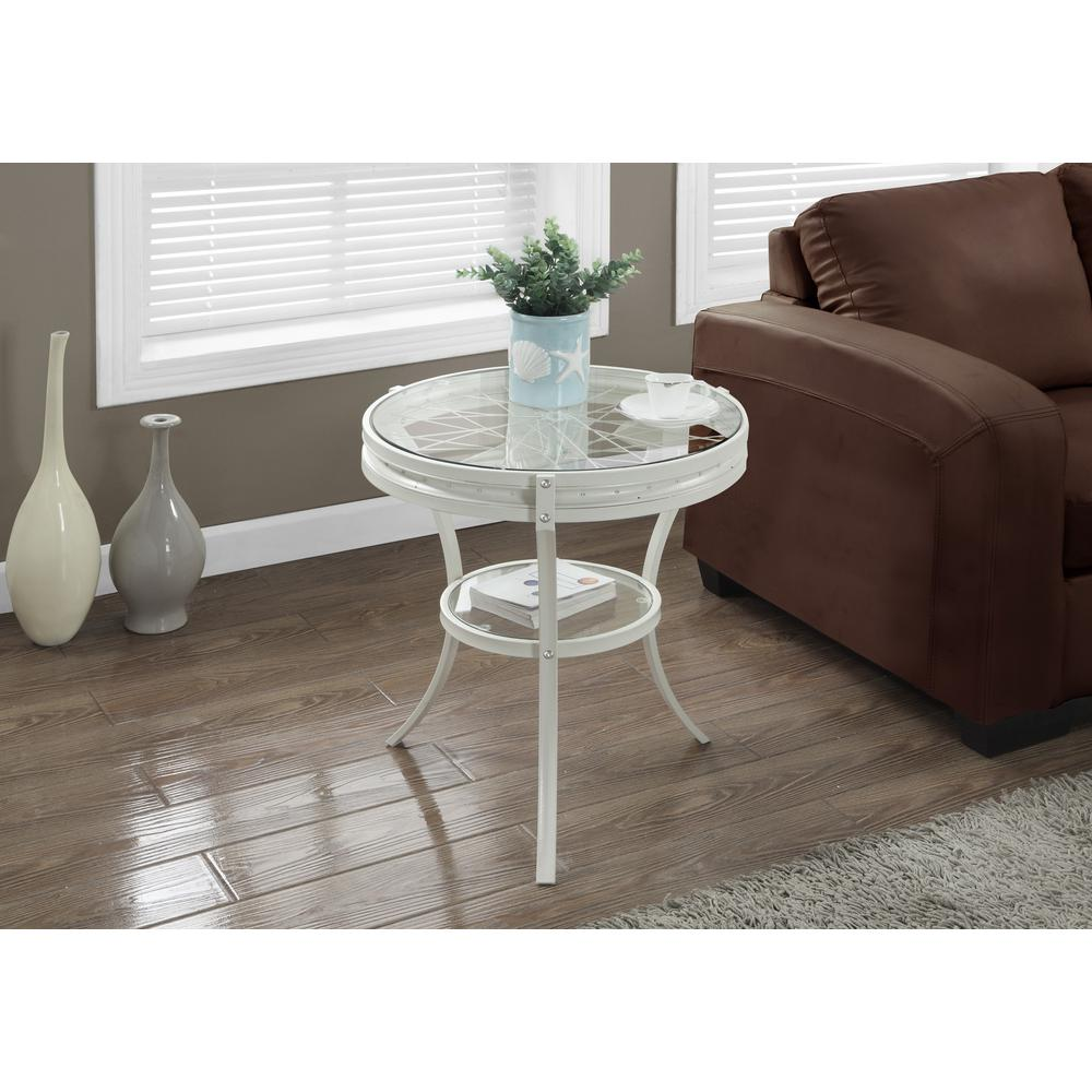 White Glass Top End Table