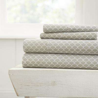 Scallops Patterned 4-Piece Gray Full Performance Bed Sheet Set