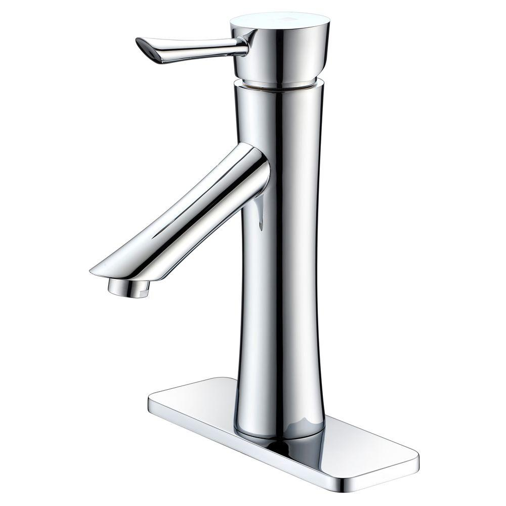 Saga Series Single Hole Single-Handle Low-Arc Bathroom Faucet in Polished Chrome