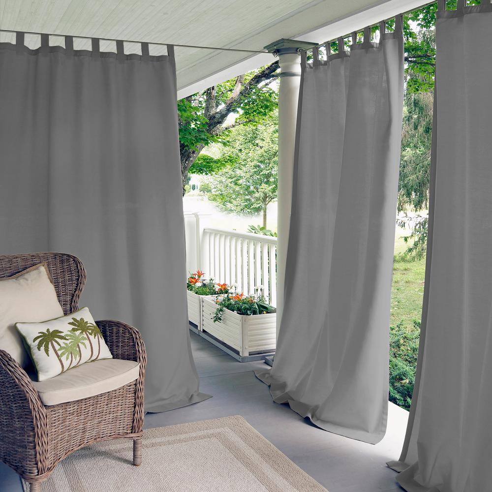 Semi-Opaque Matine Gray Indoor/Outdoor Window Curtain Panel - 52 in. W