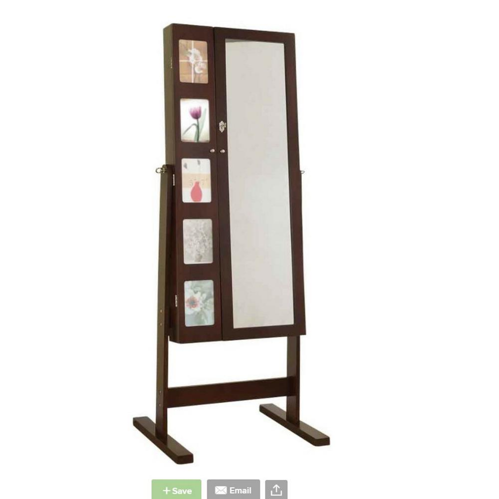 63 in. Deluxe Double Doors Espresso Jewelry Armoire Chevor Mirror with
