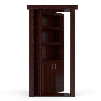 32 in. x 80 in. Flush Mount Assembled Oak Dark Stained Left-Hand Inswing Wine Rack Door