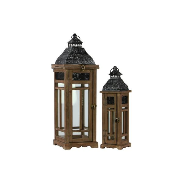 Urban Trends Collection Brown Candle Wooden Decorative Lantern 26121