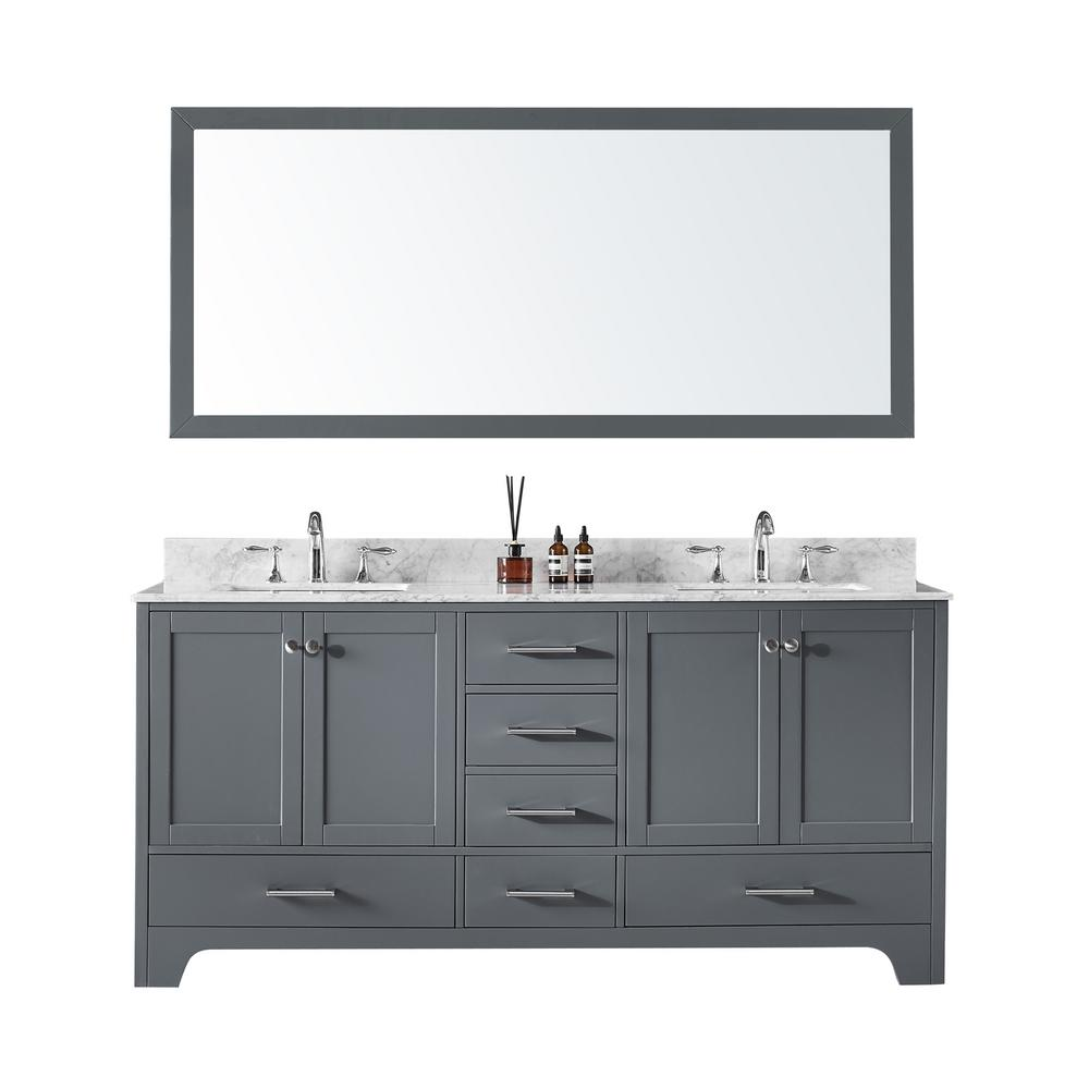 72 in. Double Sink Bathroom Vanity in Cashmere Grey with Carrara