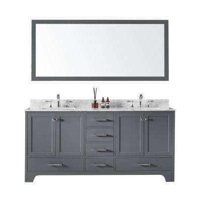72 in. Double Sink Bathroom Vanity in Cashmere Grey with Carrara White Marble Top and Mirror Set