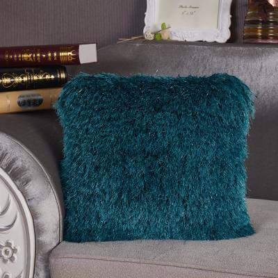 Turquoise Shaggy Lurex Standard Decorative Pillow