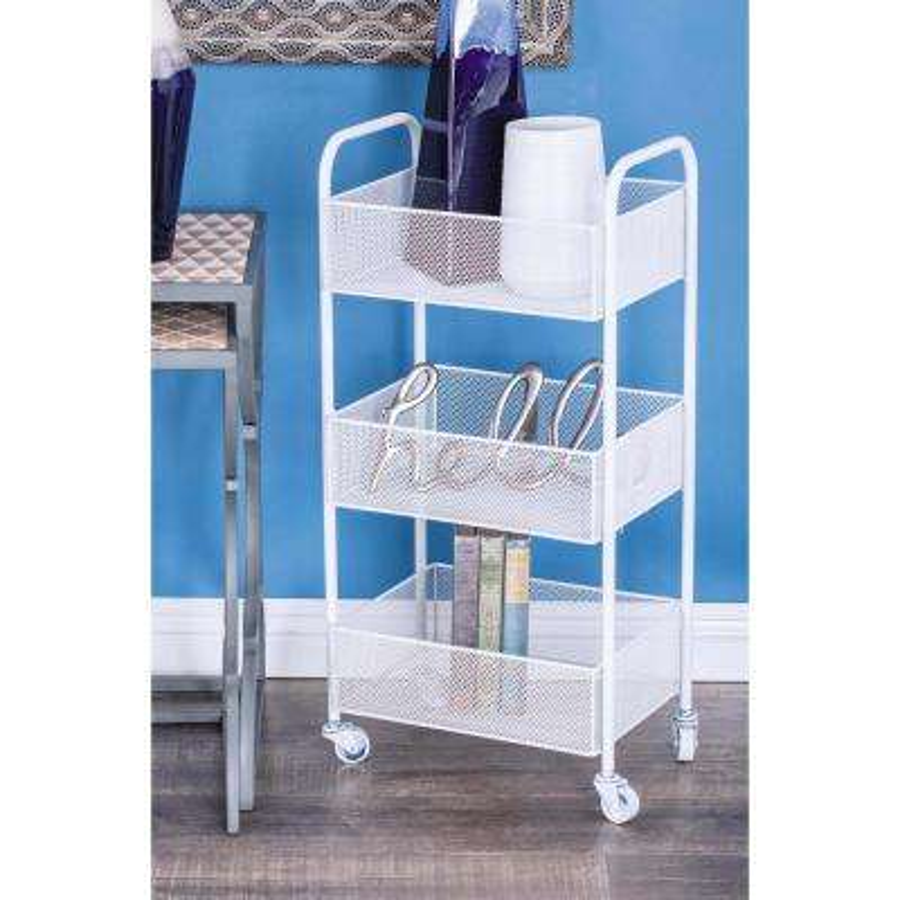3-Tier White Iron Mesh Tray Cart