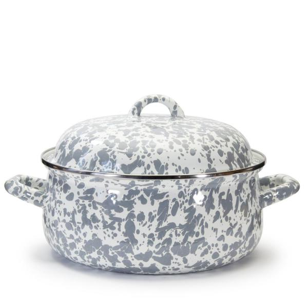 Enamelware 4 qt. Round Porcelain-Coated Steel Dutch Oven in Grey Swirl with Lid