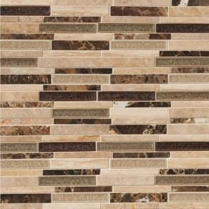 Stonegate Interlocking 12 in. x 12 in. x 8 mm Glass Stone Blend Mesh-Mounted Mosaic Wall Tile (1 sq. ft.)