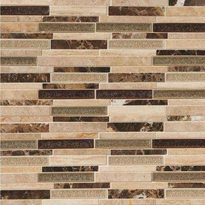 Stonegate Interlocking 12 in. x 12 in. x 8 mm Glossy Glass Stone Blend Mesh-Mounted Mosaic Wall Tile (1 sq. ft.)