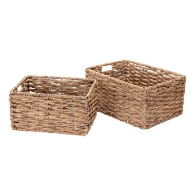 Handmade Water Hyacinth Twisted Wicker Rectangular Nesting Baskets in Natural (2-Pack)