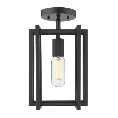Tribeca 7.25 in. 1-Light Black with Black Accents Semi-Flush Mount