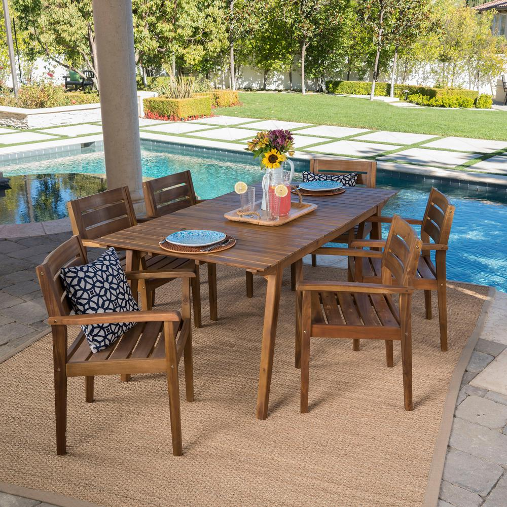 Bar Height Glass Table, Noble House Teak Finish 7 Piece Wood Rectangular Outdoor Dining Set 24307 The Home Depot