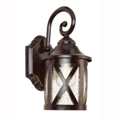 Carriage House 1-Light Outdoor Oiled Bronze Wall Lantern with Seeded Glass
