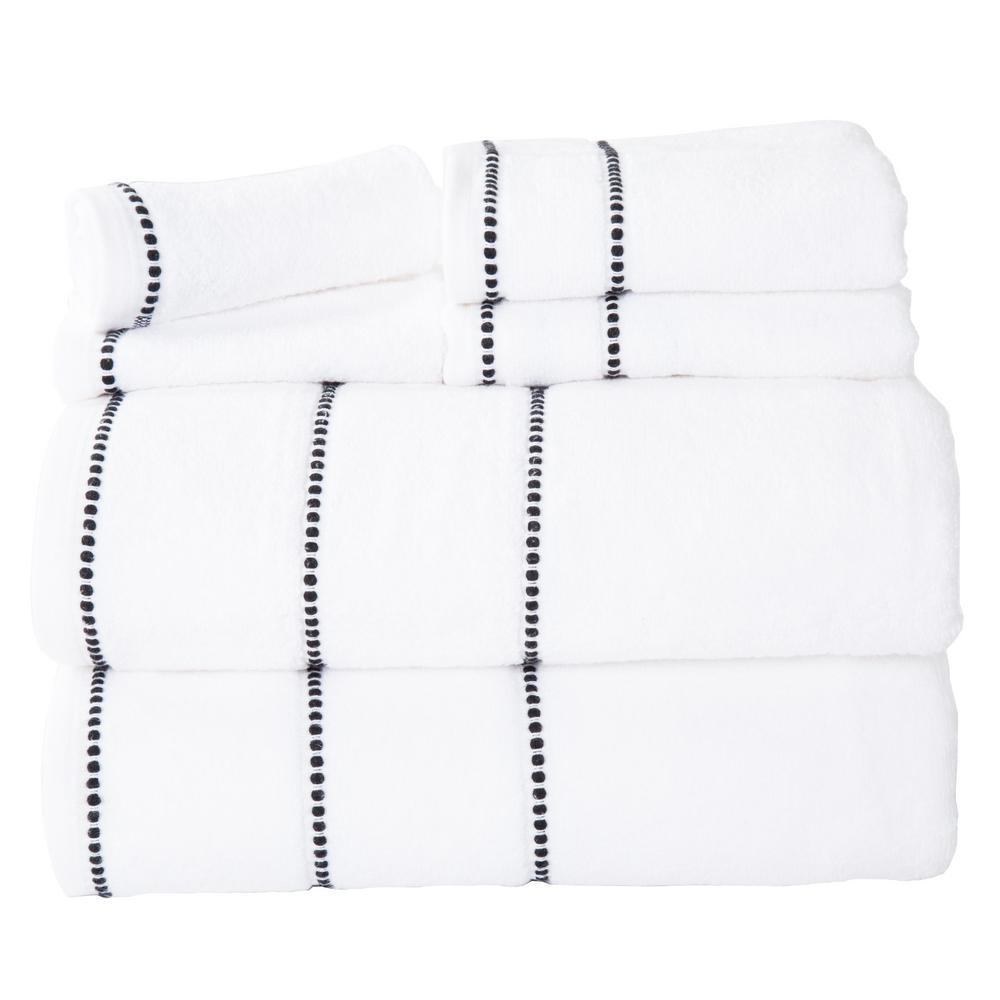 Lavish Home 100% Cotton Zero Twist Quick Dry Towel Set in White (6-Piece)