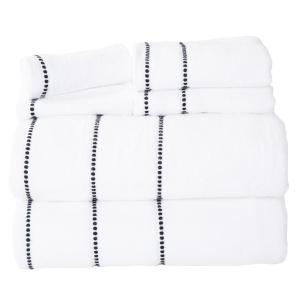 100% Cotton Zero Twist Quick Dry Towel Set in White (6-Piece)