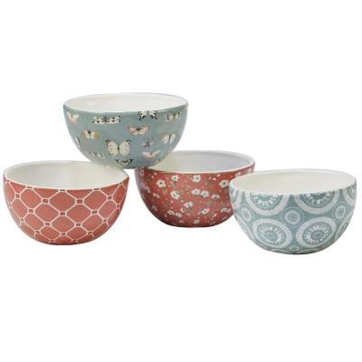 Country Weekend 4-Piece Multi-Colored 5.5 in. x 2.75 in. Ice Cream Bowl Set