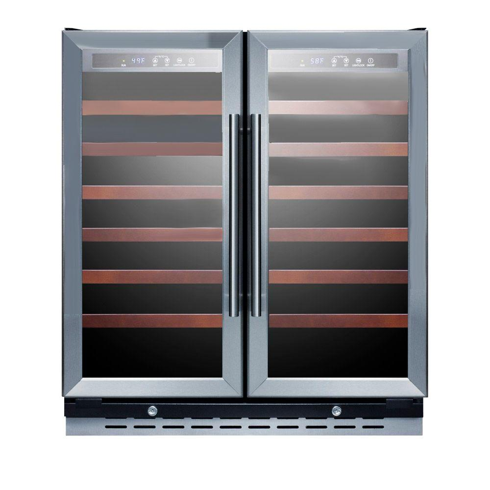 Summit Appliance 30 in. 66-Bottle Wine Cooler with Two Temperature Zones, Black Cabinet With Stainless Steel Trimmed Glass Doors